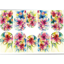3D Acrylic Engraved flower Nail Sticker birds leaves  Water Decals Empaistic Slide Z0142