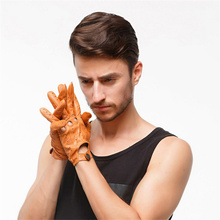 цена на 2019 Fashion High Quality Men'S Genuine Leather Gloves Imported Sheepskin Breathable Driving Gloves 3-DC020