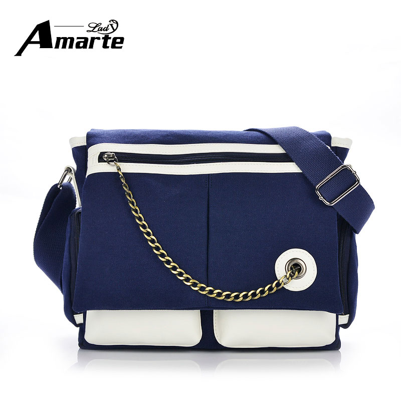 ФОТО Designer High Quality Canvas Messenger Bag Korean Style Chains Shoulder Men Stachel Casual Zipper Bolsa Patchwork Business  Bag