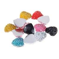 8mm 10mm 12mm Many Colors Heart Shape Resin Rhinestones Non Hotfix DIY Glitter Decorations Manicure 3D
