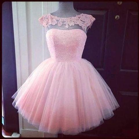 Vestidos De Noche 2017 Light Pink Homecoming   Prom     Dresses   With Cap Sleeve Ball Gown Tulle Short 8th Grade Girl Gowns For Party