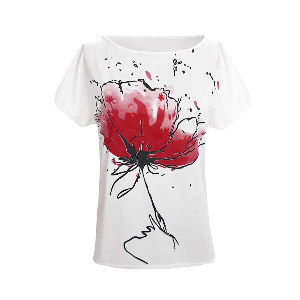 Kadınlar Casual çiçek baskı Vrouwen gömlek kısa kollu gevşek üst gömlek Tee Camisa De T Das Mulheres 2019 yaz üstleri mujer