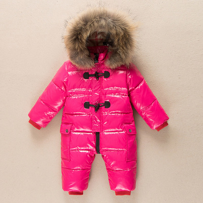 98a57bc5f children winter Jumpsuit duck down baby Rompers fur infant girls ...