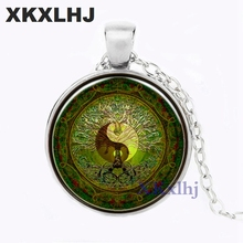 XKXLHJ Green Mandala Time Gem Of Yin And Yang Pendant Necklace Silver For Europe New