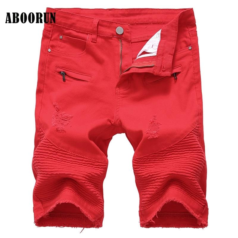 ABOORUN Fashion Mens Biker Motorcycle Jeans Shorts Ripped Denim Shorts Summer Cotton Knee Length Short Pants for Male YC1068
