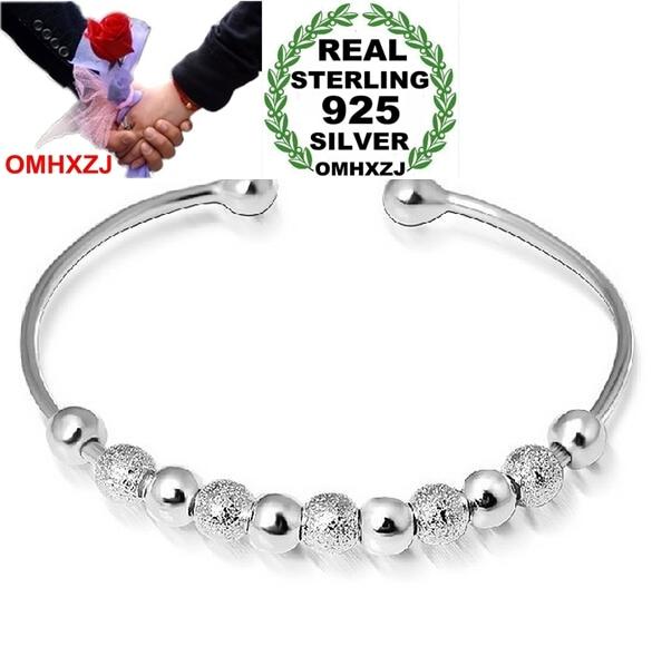 OMHXZJ Wholesale Jewelry Round  Woman Fashion Kpop Star Lucky Bead 925 Sterling Silver Adjustable Bangles SZ03