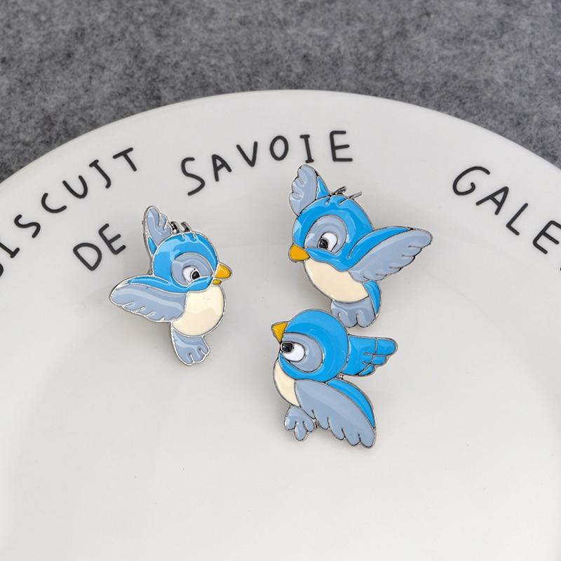 3pcs/set Enamel blue bird pin Cartoon flying fledgling Animal Brooch Denim Jacket Pin Buckle Shirt Badge Gift for Kids 5