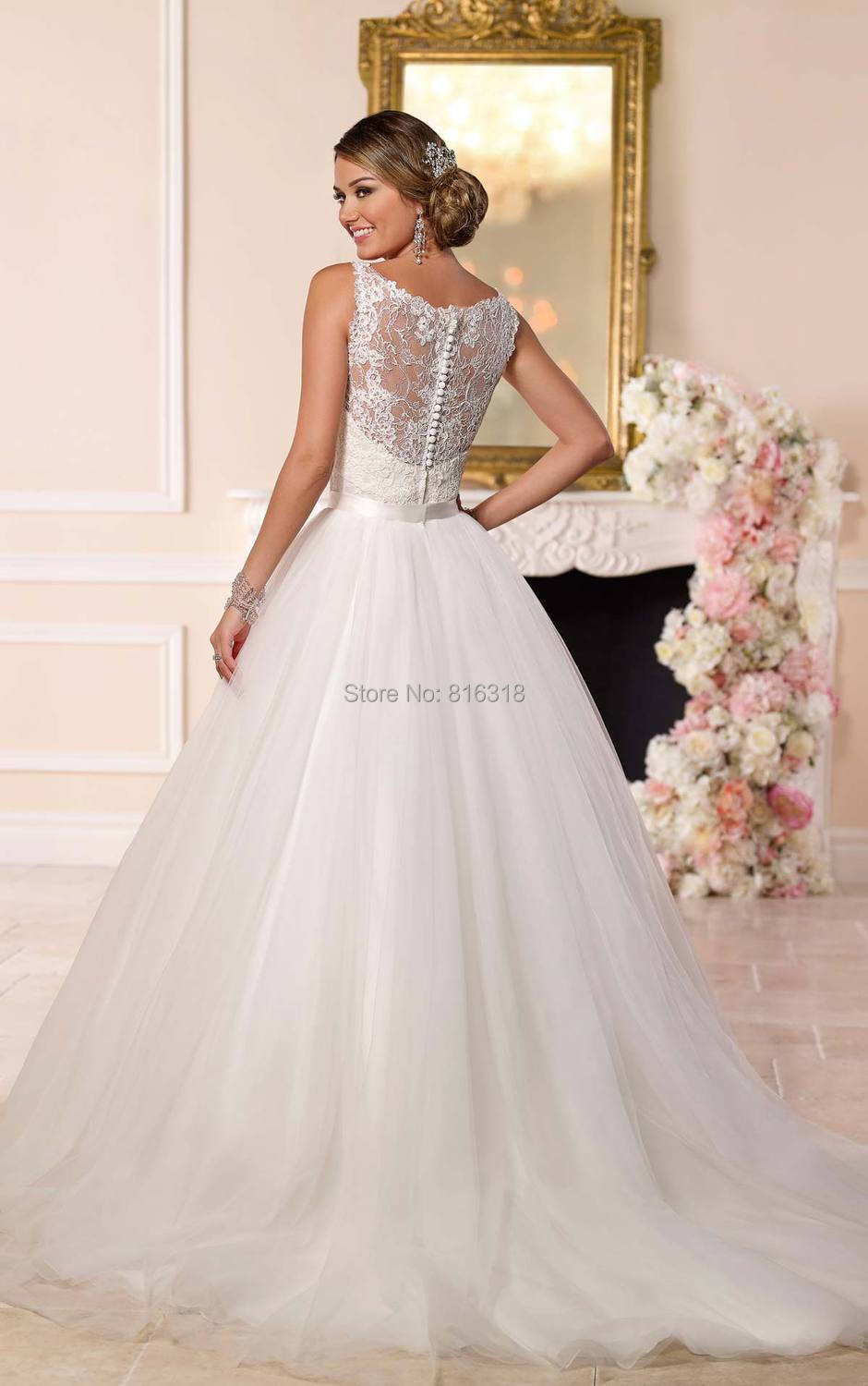Spaghetti Straps Detachable Skirt Wedding Dress Tulle and Lace ...
