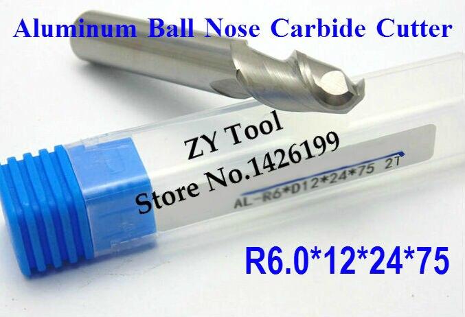 1 шт. 2F R6.0*12*24*75 алюминиевый Карбид шаровой носовой концевой фрезы, Фрезы с ЧПУ, резак из алюминиевого карбида, станок, фрезерные инструменты с ЧПУ