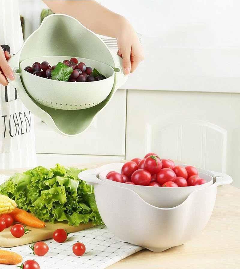 厨房洗篮 -  2PCS-微型 - 双屏 - 水果 - 蔬菜 - 塑料 - 洗手盆 - 漏水 - 排水 - 篮子 - 厨房 - 工具 -  KC1729(16)
