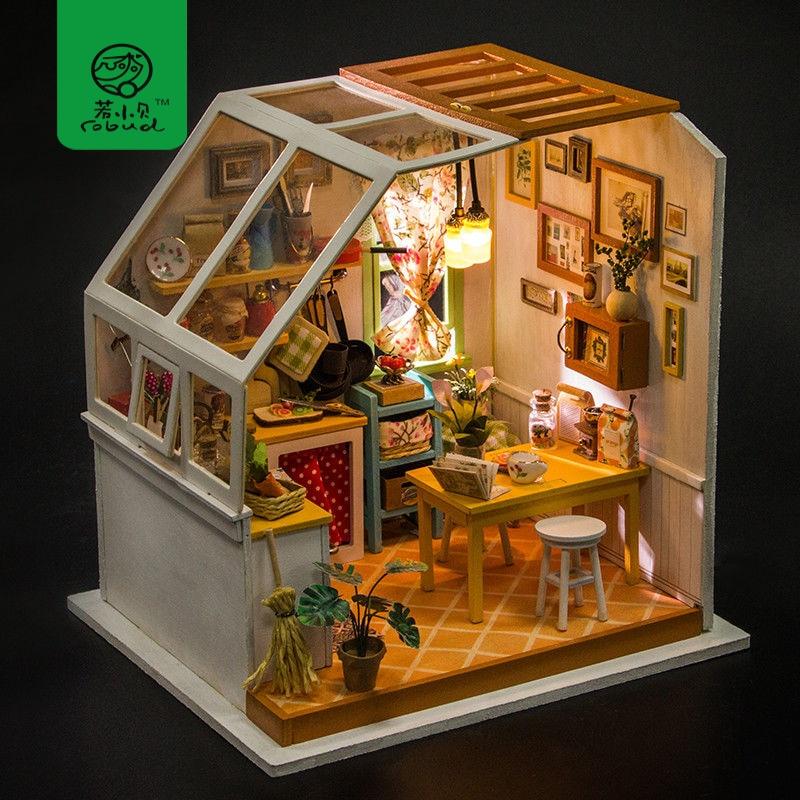Robud DIY миниатюрный дом Джейсон кухня Кукольный дом наборы кукольный домик с мебель игрушки для детей лучший подарок для девочек DG105