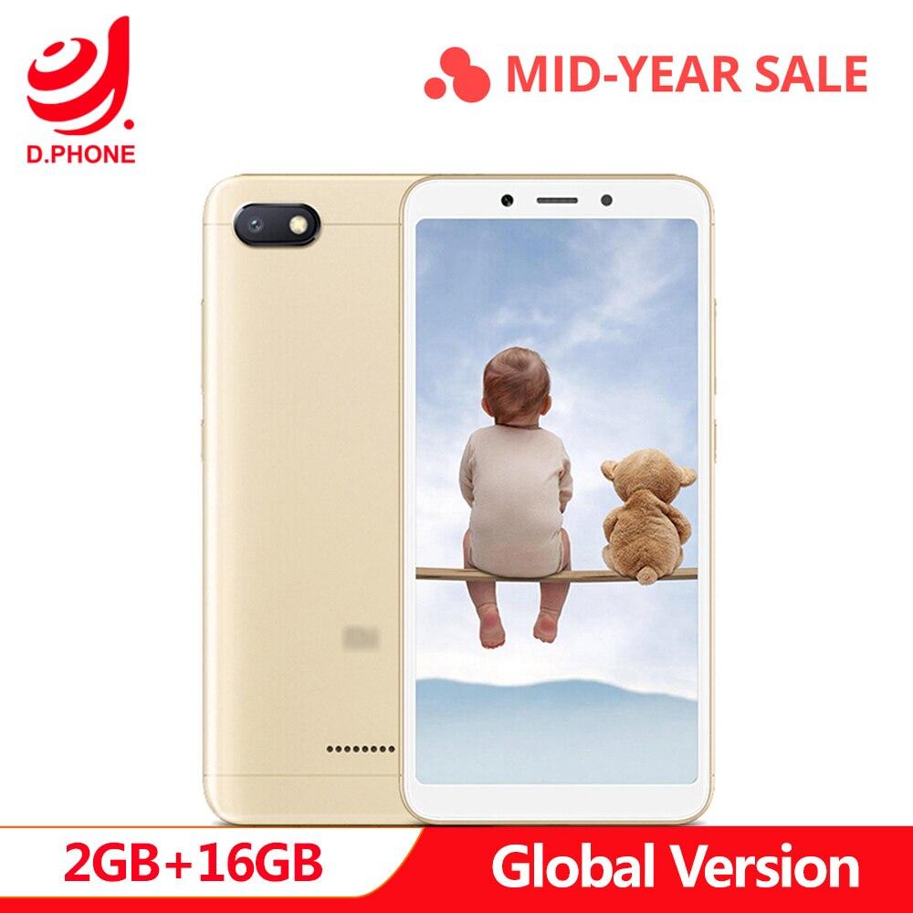 En Stock Original versión Global Xiaomi Redmi 6A 2 GB 16 GB 5,45 18:9 Pantalla Completa MTK Helio A22 teléfono Móvil de cámara Quad Core 13MP
