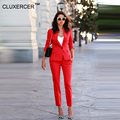 CLUXERCER Brand Women 2 Pieces Sets Womens Business Suits Orange Pants Suit Formal OL Business Suit Long Sleeve trouser suit