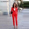 Cluxercer marca mulheres 2 peças conjuntos de ternos de negócio das mulheres orange calças terno formal do negócio ol terno de manga comprida calças terno