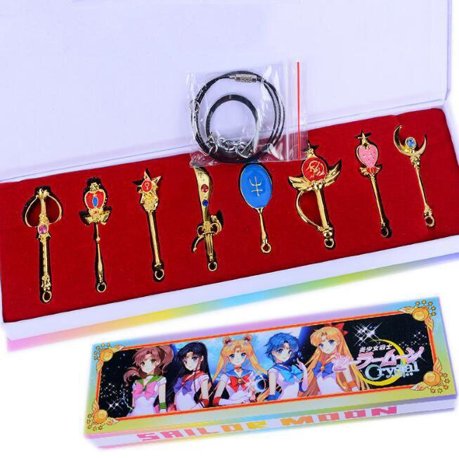 8Pcs/set Lovely Sailor Moon Keychain Guardian Tsukino Usagi Necklace Keychain With Gift Box