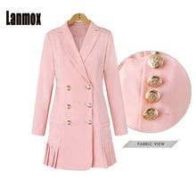 Lanmox OL Double Breasted Long Suit Blazer Femme Autumn Winter Slim Bottom Pleated Women Coat Jacket Casual Outwear Plus Size