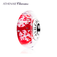 ATHENAIE Genuine Murano Glass 925 Silver Core Snowflake Charm Bead Fit All European Bracelets Color Red Gift For Women Girl