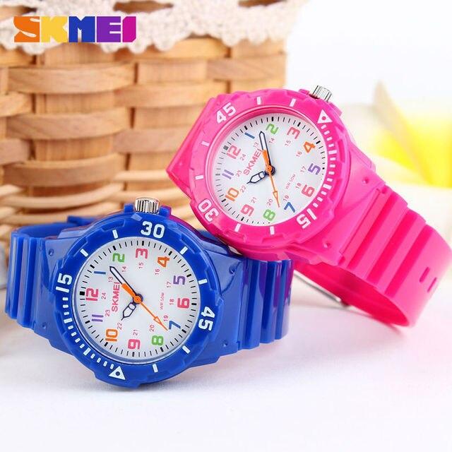 SKMEI Rotatable Compass Jelly Color Children Watch Fashion Kids Wrist Quartz Wat