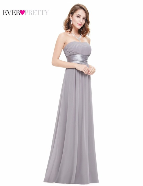Long Evening Dresses Ever Pretty HE09955 Strapless Ruched Bust Black Chiffon 2017 New Arrival Evening Dresses Style