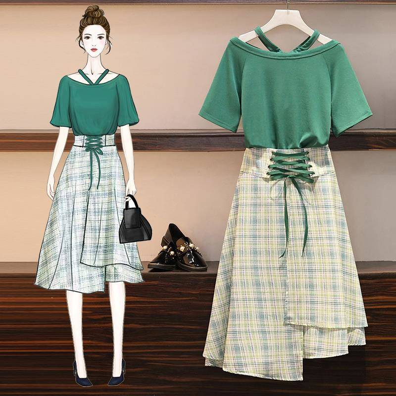 ICHOIX Plaid 2 Piece Skirt Set Summer 2020 Korean Lace Up T-shirt Tops And Skirt 2 Piece Set Women 3xl 4xl Plus Size Set Outfits