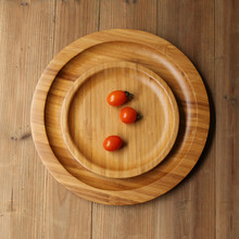 Pallet natural wood circle brief pastry bread plate household water cup tea set tableware bamboo tray