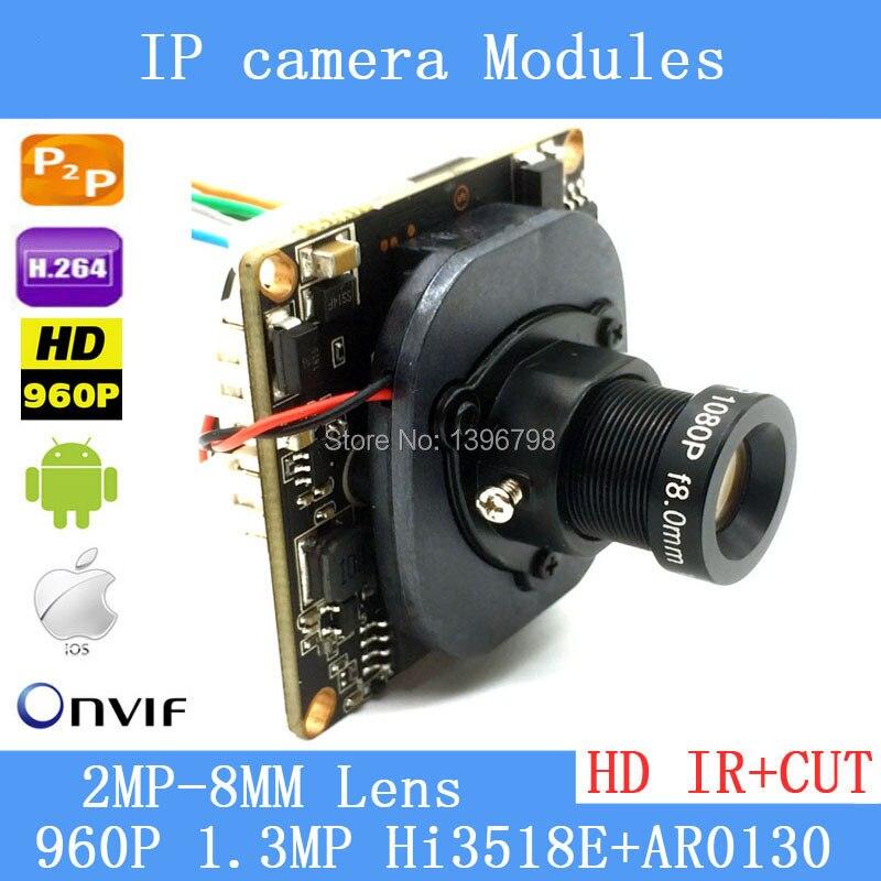 PU'Aimetis 1.3 mégapixels IP caméra Module carte 960 P CCTV caméra IP puce carte 2MP 8mm lentille téléphone portable vue