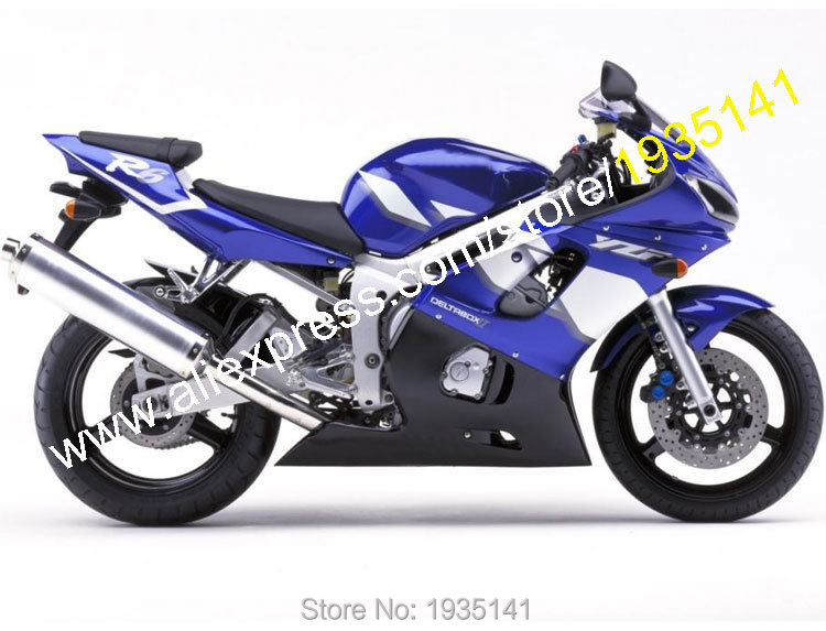 Hot Sales,For Yamaha YZF R6 1998 1999 2000 2001 2002 YZFR6 YZF-R6 Blue Black White Aftermarket Fairing Kit (Injection molding) free shipping blue white black aftermarket oem fitment kits for yamaha r1 2002