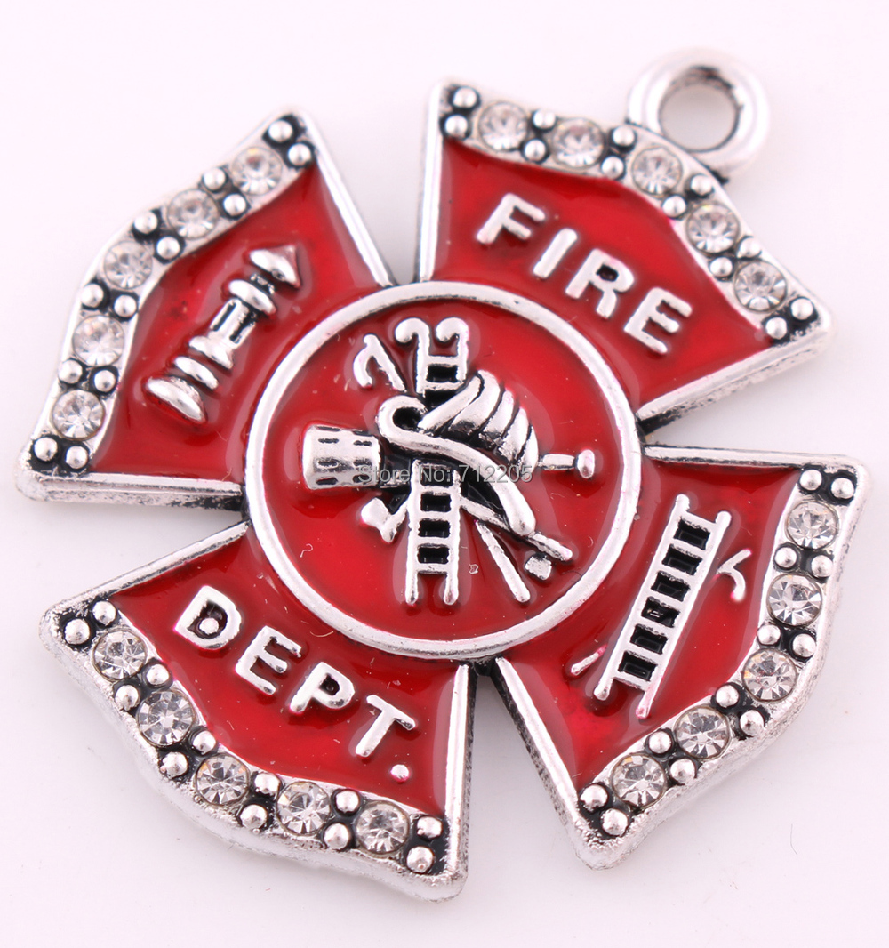 maltese products shineon pendant cross emblem firefighter