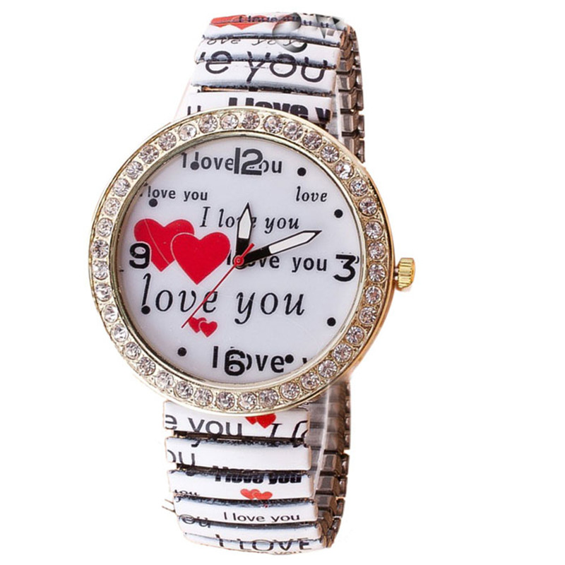 women watch 2017 great sale Womens Love Heart Diamond Printed Elastic Bracelet Wrist Quartz Watch Reloj relogio clock P*21 love heart hollow out bracelet watch