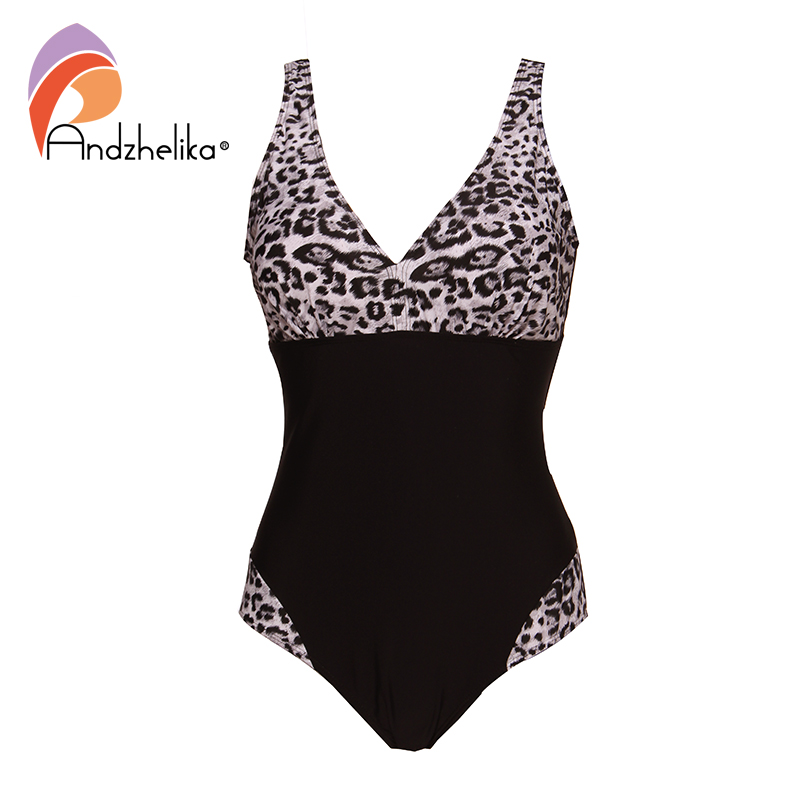 Andzhelika 2019 New Women One Pieces Swimsuits Sexy Leopard Patchwork Solid High Waist Bathing Suits Summer Plus Size SwimwearBody Suits   -