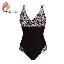 Andzhelika 2019 nova mulher um pieces maiôs sexy leopardo retalhos sólidos de cintura alta trajes banho verão plus size