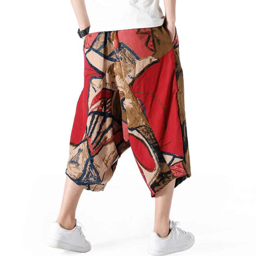 2019 Plus ขนาด 5XL Harem กางเกงผู้ชายผ้าลินินผ้าลินิน Hip Hop พิมพ์ Baggy กางเกงขากว้างหลวมชายฤดูใบไม้ร่วงฤดูร้อนกางเกงยาว