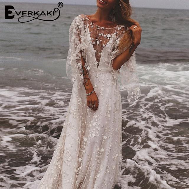 Everkaki Star Mesh Maxi Dress Women Wedding Lining Backless Deep V Neck Long Sleeve Elegant Bohemian Dresses Female 2019 Summer