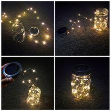 2M 20 LED Solar Solar LED String light Mason Jar Lid Lamp Xmas Outdoor Garden Decor Christmas Holiday Decoration lamp 1567