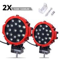 2pcs 51w LED work light Red Round Spot Bumper Driving Lamp Headlight Fog Light for Truck Car ATV UV 4WD 4x4 ramp 12V 24V 6500k