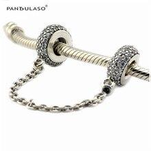 Pandulaso Pave inspiración Seguridad cadena claro CZ 925 Sterling-plata-joyas fit pulsera de plata mujer Cuentas DIY venta al por mayor
