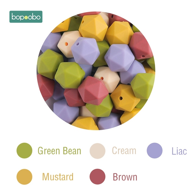Bopoobo 10pcs 14mm Hexagon Silicone Beads Baby Teether Eco-friendly BPA Free Baby Teething Pacifier Chain Beads Baby Product 3