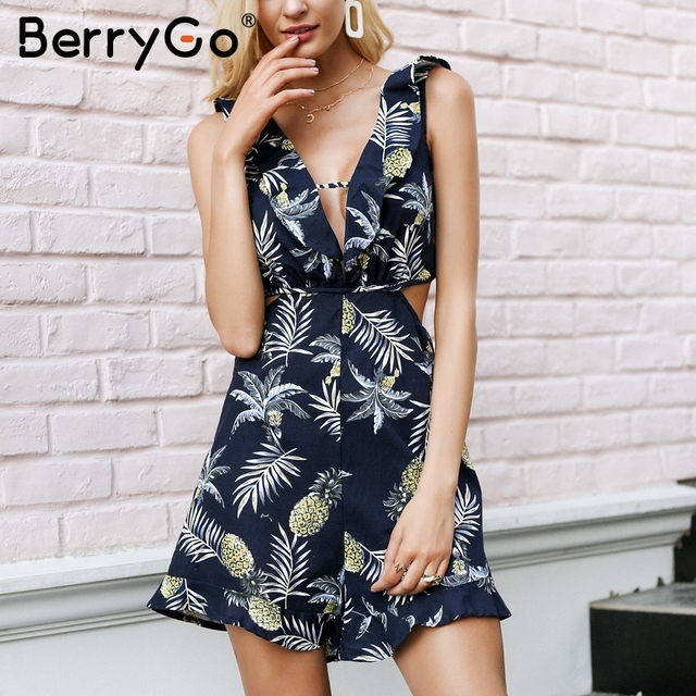 bf7342db7c30 BerryGo V neck tropical print rompers women jumpsuit Backless hollow out casual  playsuit overalls Beach ruffle