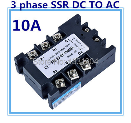 Three  phase solid state relay DC  to AC SSR-3P-10 DA 10A SSR relay input DC 3-32V output AC480V dc ac single phase ssr solid state relay 120a 3 32v dc 24 480v ac