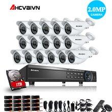 בית 16CH CCTV DVR מערכת AHD DVR 1080 p 2.0 מגה פיקסל משופר IR אבטחת מצלמה 3000TVL CCTV מצלמה אבטחת מערכת 1 tb HDD