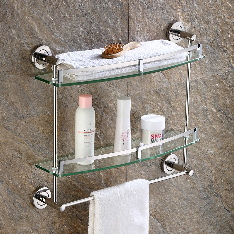 Toilet Bathroom Bathroom European-style Hardware Pendant Towel rack 2 Layer 3 Wall Mounted Bathroom Glass Shelf LO58204Toilet Bathroom Bathroom European-style Hardware Pendant Towel rack 2 Layer 3 Wall Mounted Bathroom Glass Shelf LO58204