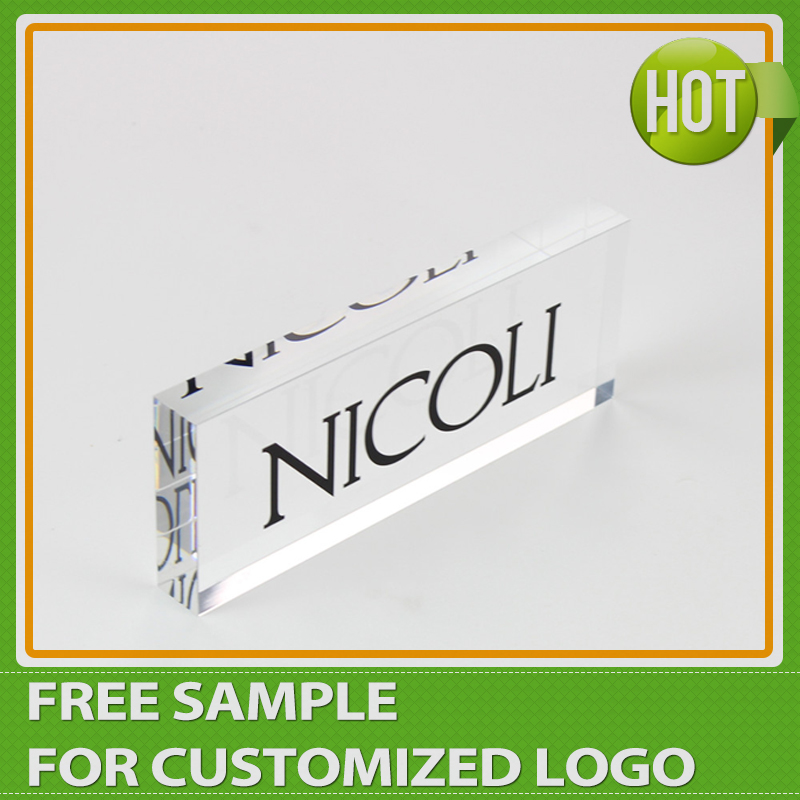 Acrylic Cubic Rectangular Solid Plexiglass Block Shop Sign Block For Promotion signage