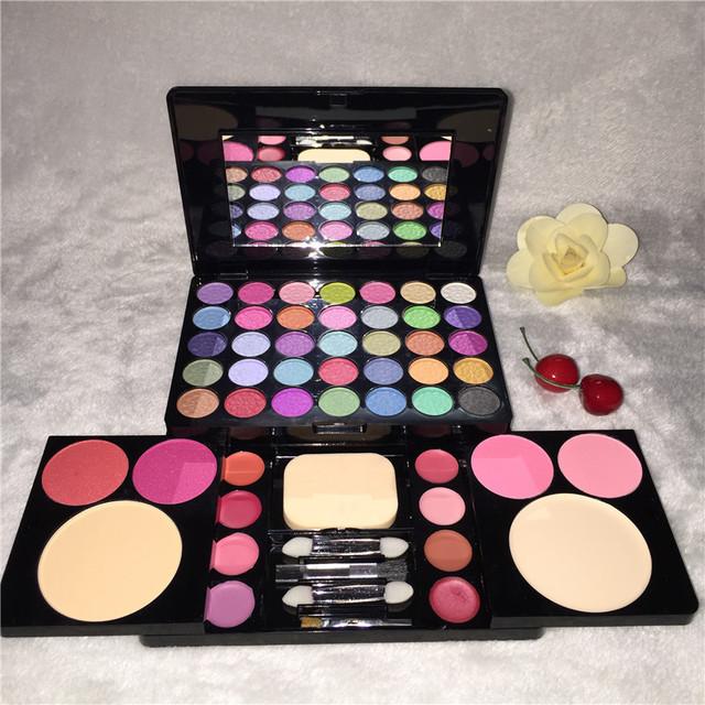 Alta Qualidade 49 Cores de Maquiagem Cosméticos Set 35 Cores de Sombra paleta 4 Corar 8 lip gloss 2 pó facial com escova