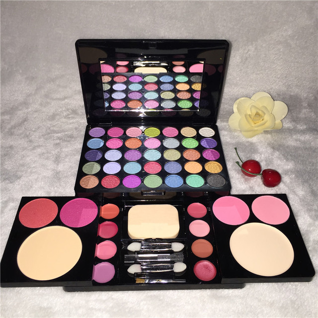 High Quality 49 Color Makeup Cosmetic Set 35 Color Eyeshadow Palette 4 Blush 8 lip gloss 2 face powder with Brush
