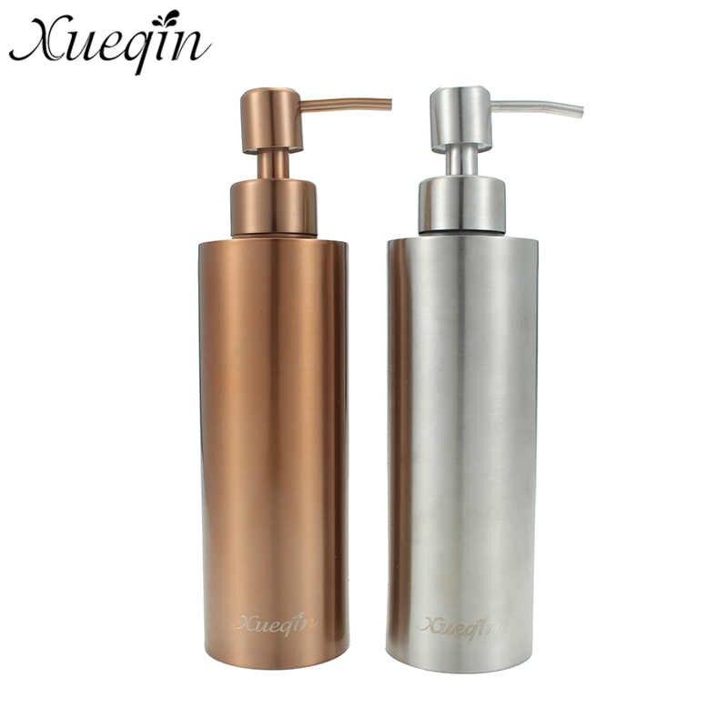 Xueqin Silver/Gold 350ML Stainless Steel Kitchen Bathroom Hand Pump Liquid Soap Dispenser Lotion Detergent Bottle 11 11 free shippinng 6 x stainless steel 0 63mm od 22ga glue liquid dispenser needles tips