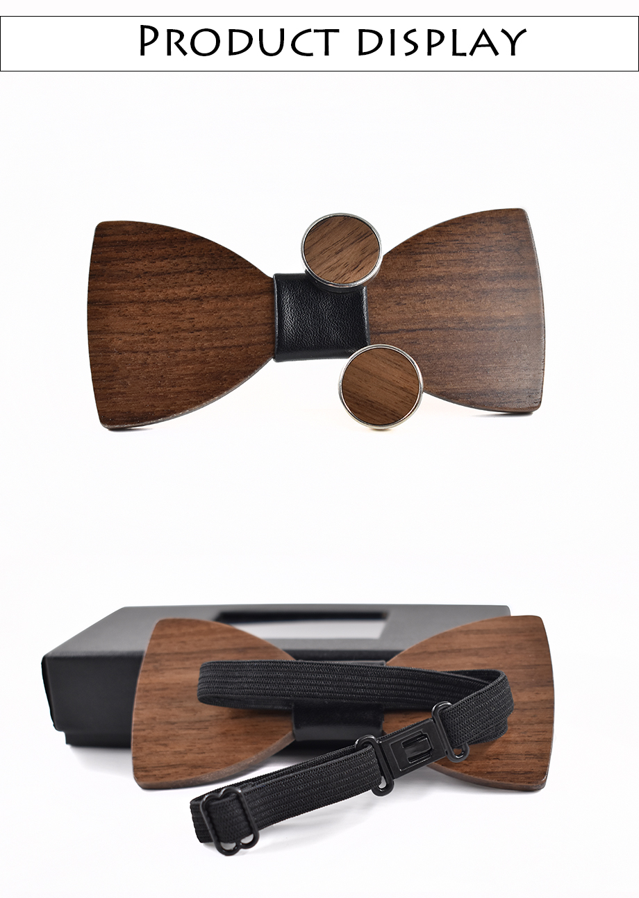 Wood Bow tie and Cufflinks