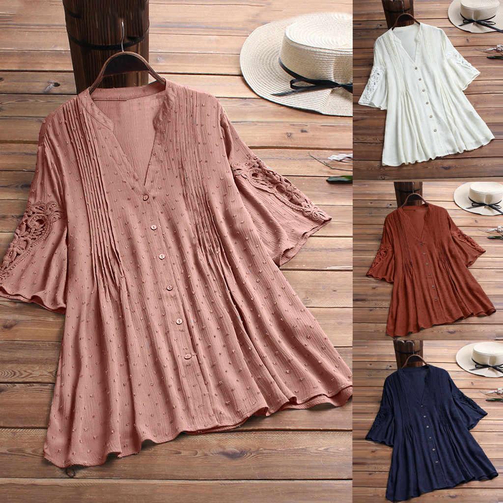 Женская блузка плюс размер хлопковая и льняная рубашка для дам винтажная