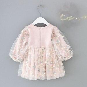 Image 2 - infant girls clothes autumn lantern sleeve baby girls dress kids birthday flowers embroidery party dresses Newborn princess wear