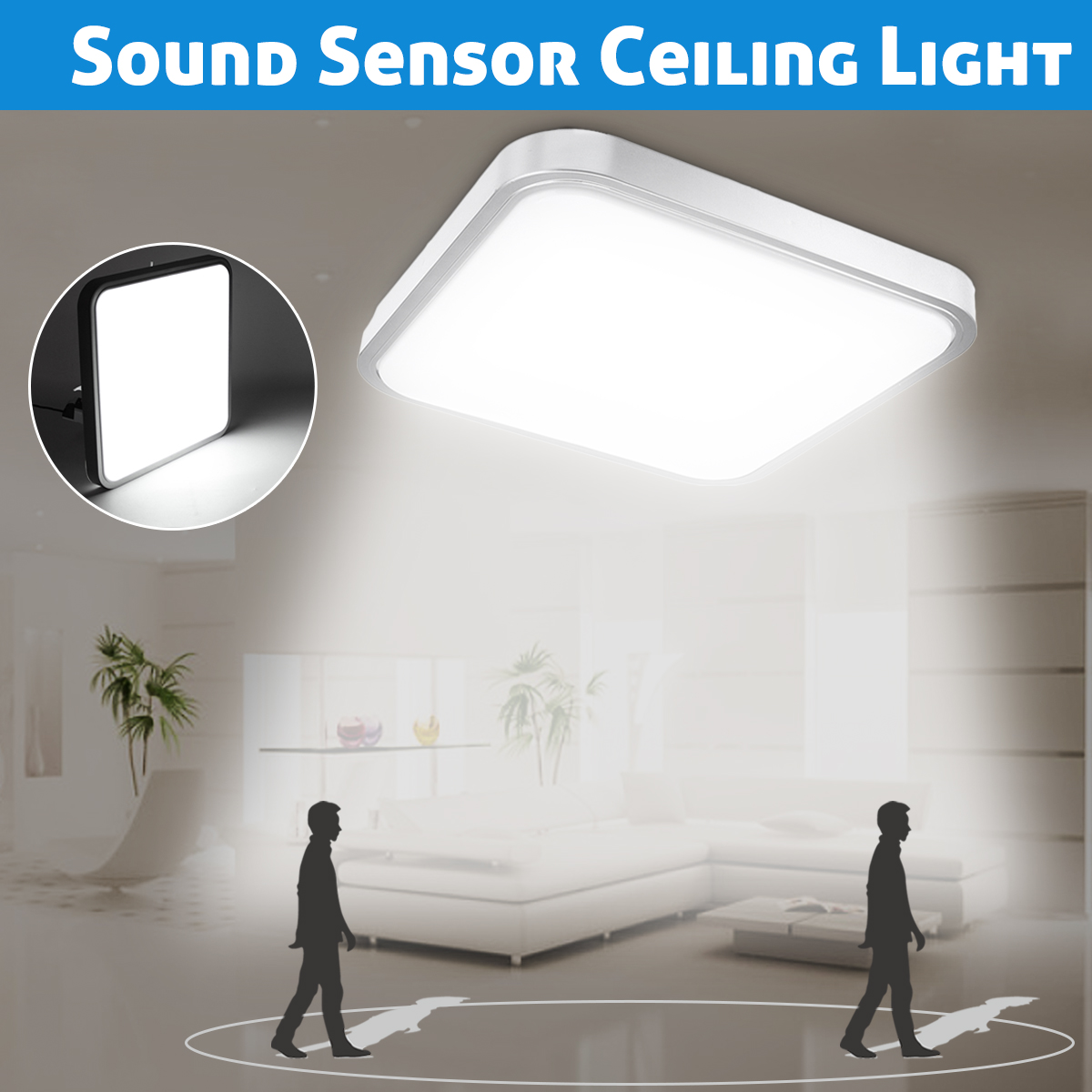 15W 18W 24W Flush Mount Square Ceiling Lamp Sound Control PIR Motion Sensor Modern LED Ceiling Lights For Living Room Bedroom new safurance 15w led infrared pir sensor ceiling mount lamp light ac110 265v for room building automation home security