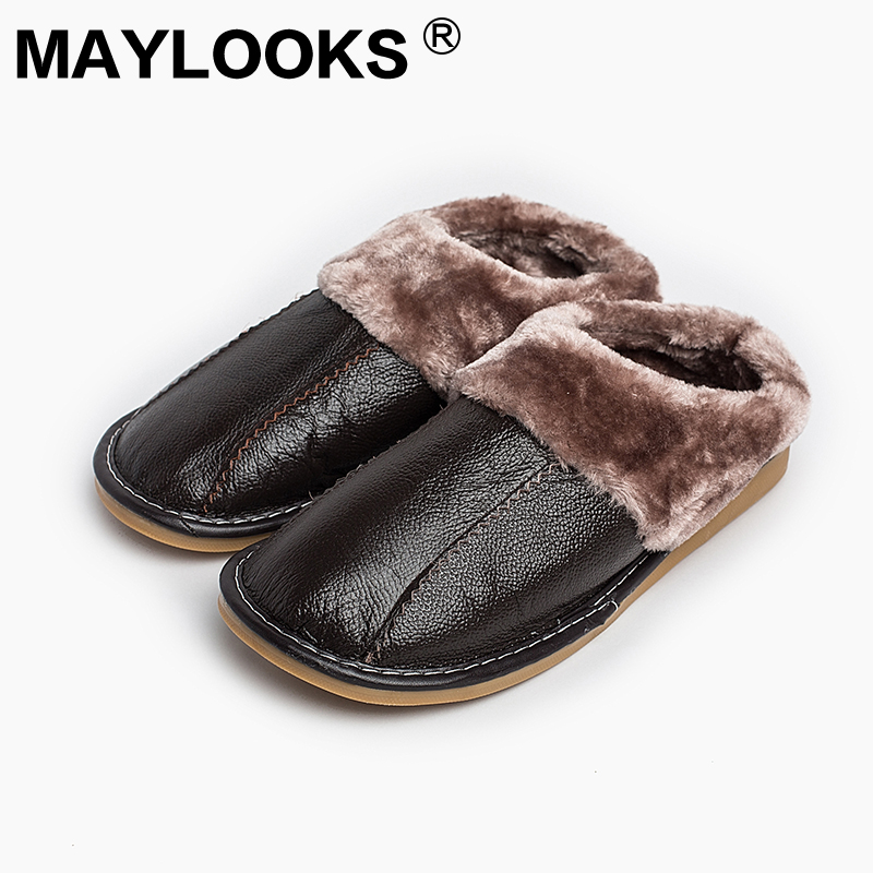 Heren Slippers Winter echt leer Dik met pluche Home Indoor antislip Thermische sloffen 2018 New Hot Sale Maylooks M-8819